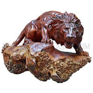 Burmese Burl-wood Carving of Attacking Lion