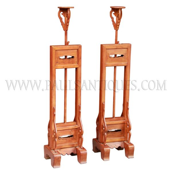 Pair of Chinese Elm Adjustable Height Candle Stands