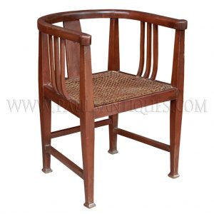 Burmese Colonial Teak and Rattan Round-back Armchair