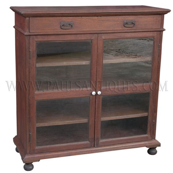 Burmese Colonial Teak Single-drawer Sideboard with Glass Doors and Bun Feet