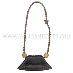 Old Cambodian Teak Carved Cow Bell On Natural Rope