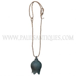 Cambodian Bronze Lotus-shaped Cow Bell on Natural Hand-woven Rope