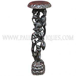 Burmese Teak Plant Stand Carved with Angel in Mythical Forest