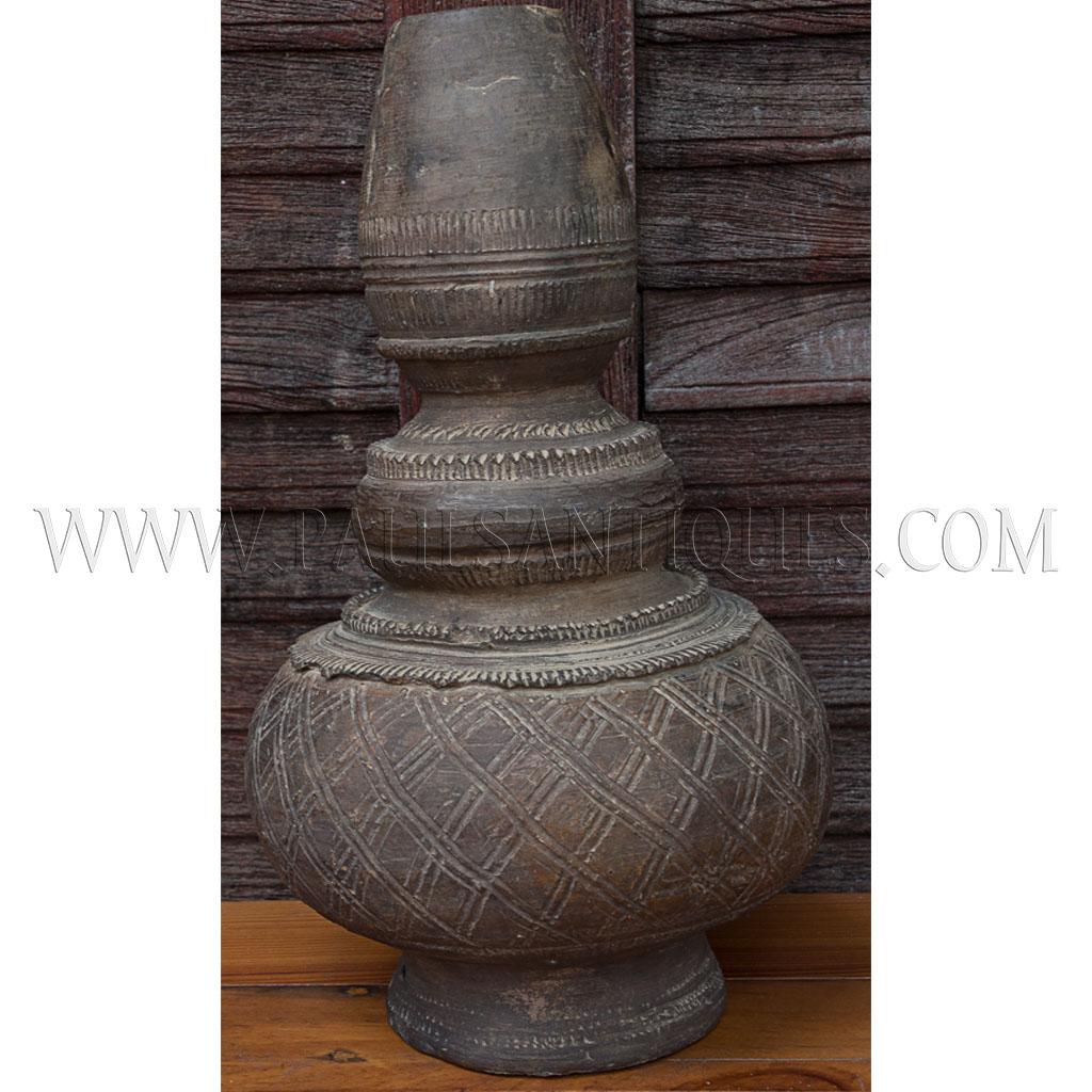 Unglazed Long Necked Earthenware Water Vessel Nam Ton