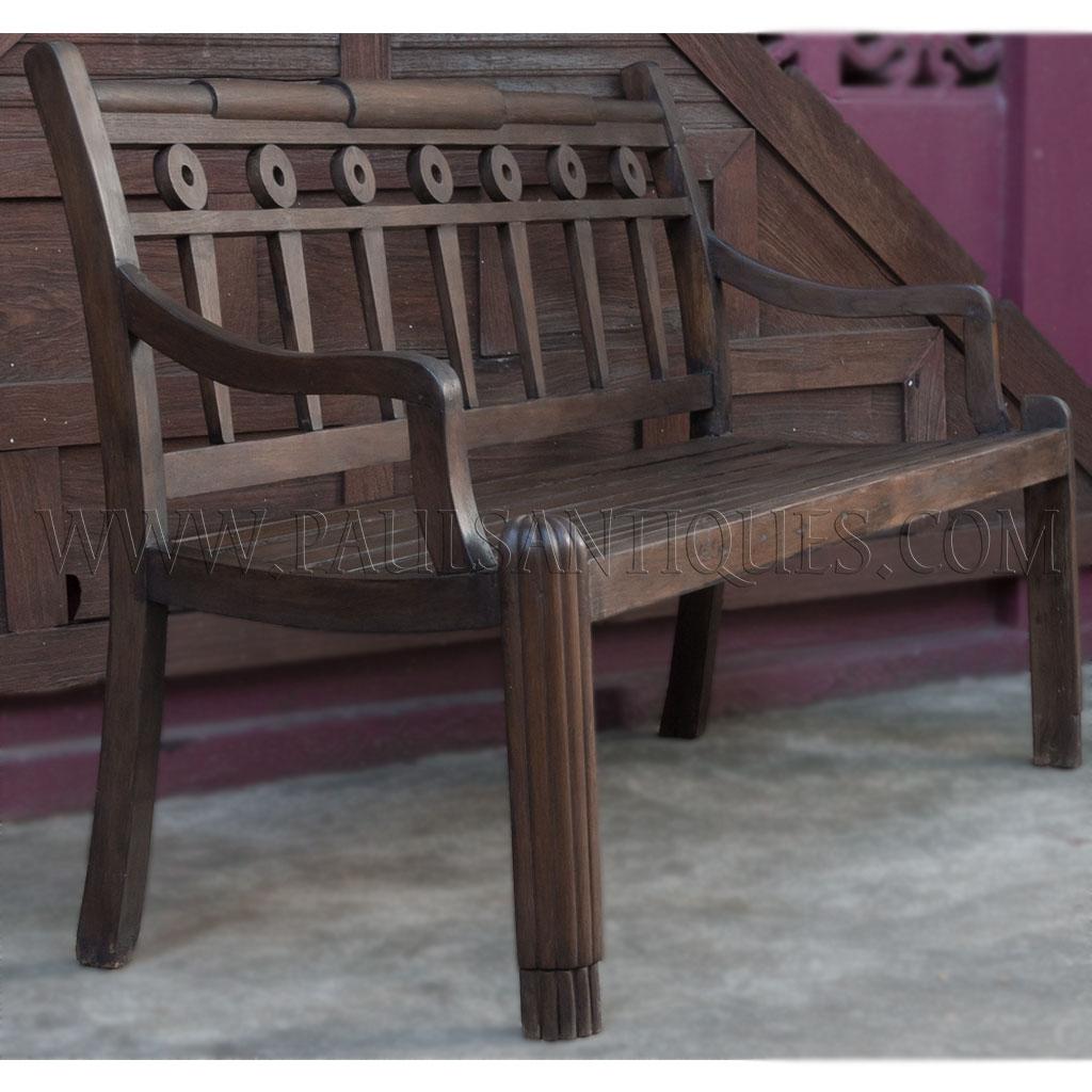 Colonial Era Burmese Art Deco Teak Garden Bench