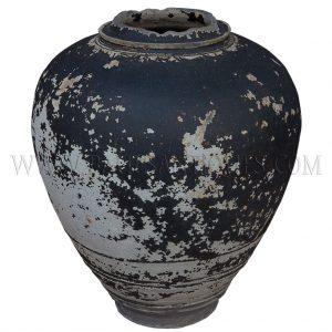 Late Angkor Period Khmer Light Brown Glazed Ceramic Jar with Broken off Neck