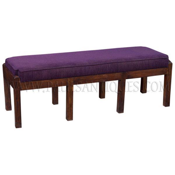 Custom Reclaimed Teak Upholstered Bench