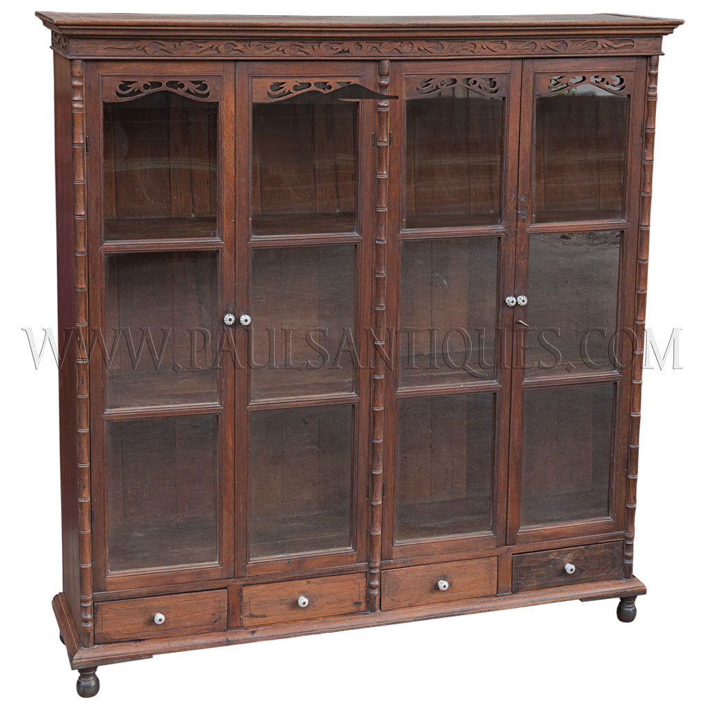 - Rare Antique Thai Teak Display Cabinet With Drawers And Glass Doors