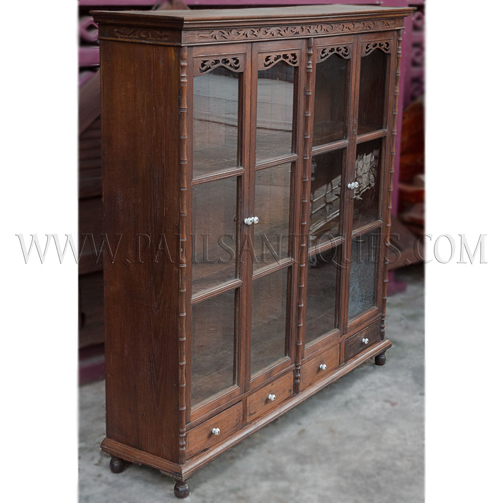 Rare Antique Thai Teak Display Cabinet With Drawers And Glass Doors