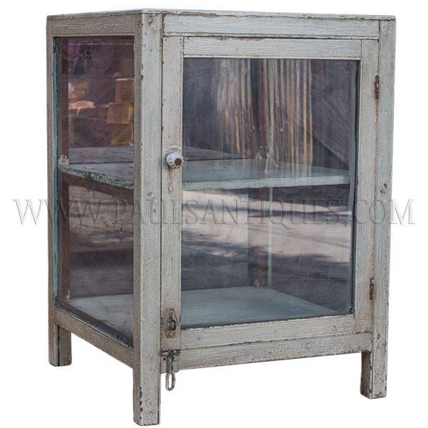 Thai Teak Shophouse Display Cabinet with Original White Paint