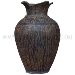 Late Angkor Period Khmer Light Brown Glazed Ceramic Jar Partially Broken Lip