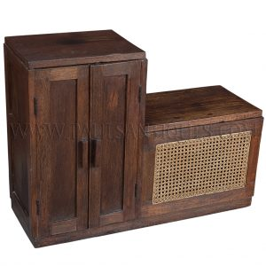 Colonial-era Burmese Teak and Rattan Art-Deco Shoe Cabinet/Hamper/Bench