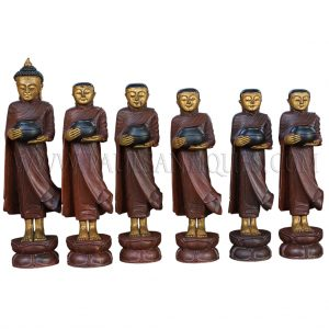 Large Burmese Teak Carvings of Buddha and Disciples on Alms Rounds