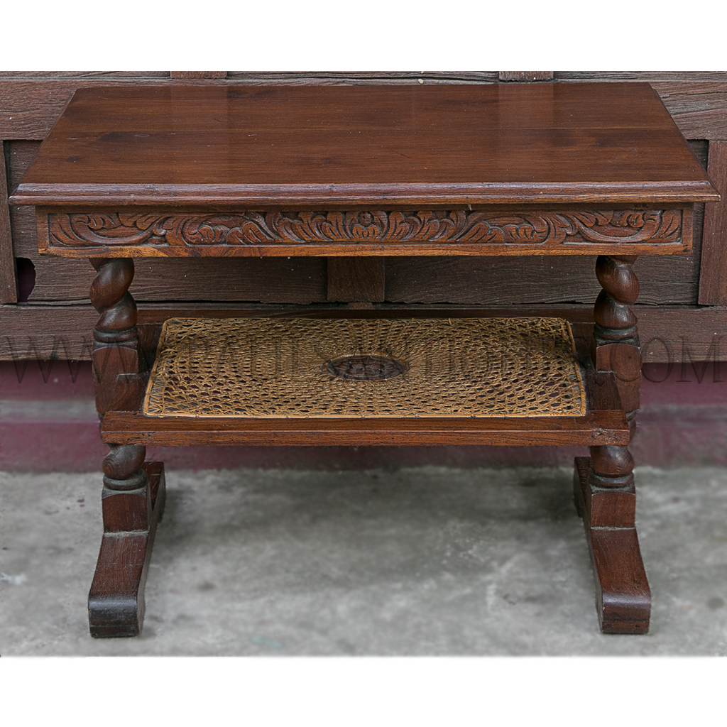 Indonesian Carved Teak and Sun-burst Pattern Rattan Coffee ...