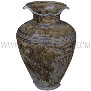 Late Angkor Period Khmer Light Brown Glazed Ceramic Jar with Lip Broken Off Unearthed in Thailand