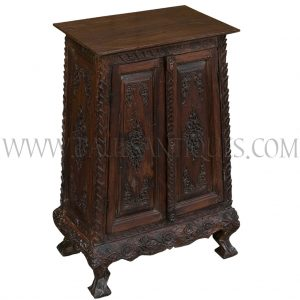 "Thai Teak Lanna-style Carved Scripture Chest/Cabinet with ""Kha Mu"" (Outward Turning) Legs"