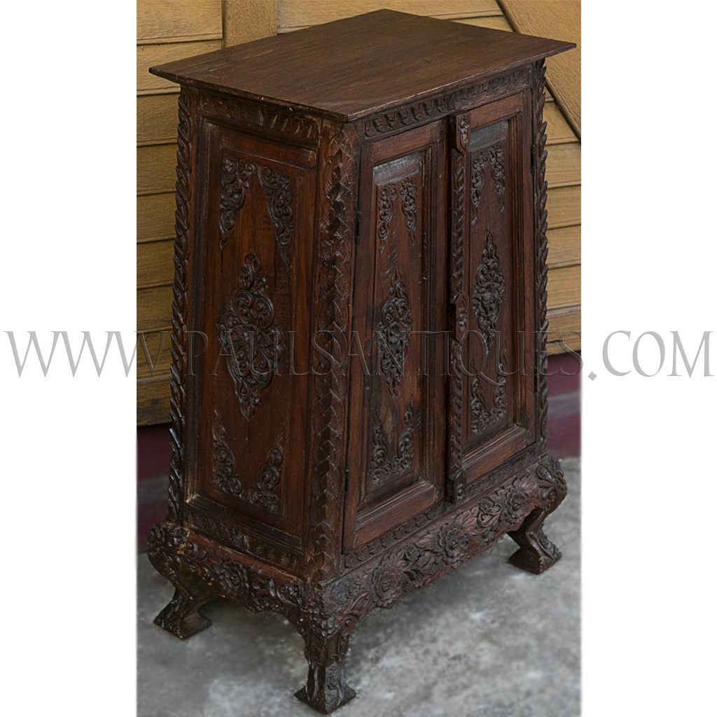 Thai Teak Lanna Style Carved Scripture Chest Cabinet With