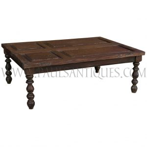 Old Thai Teak Window Shutters Repurposed as a Coffee Table with Salvaged Balustrade Legs