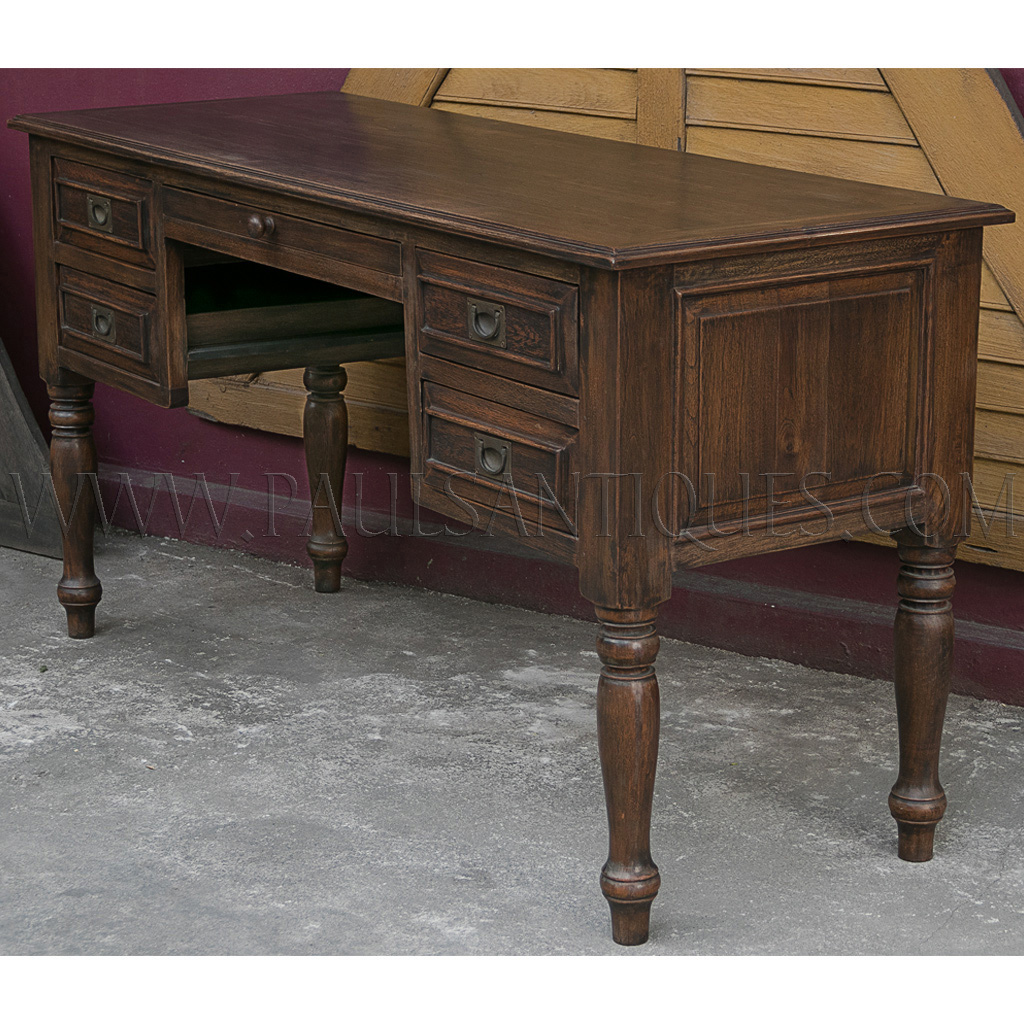 Indonesian Teak Colonial Style Desk With Turned Legs