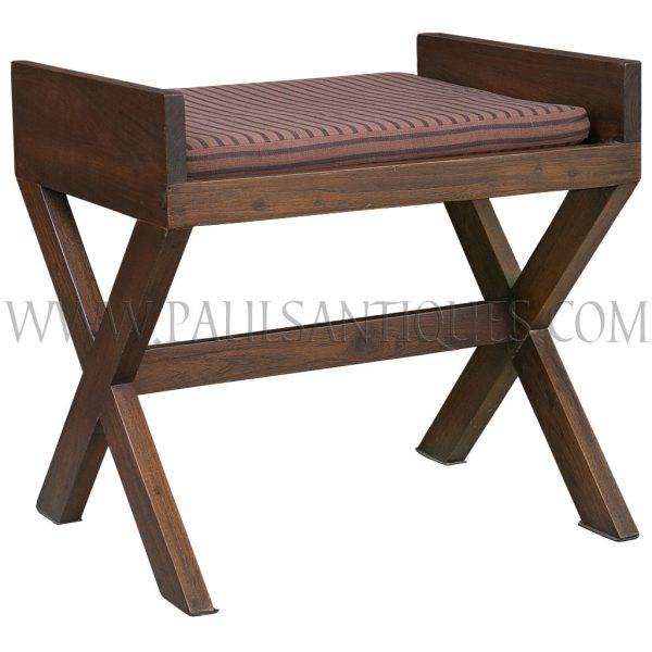 Backless Teak Crossed-legged Dining Room Chair with Removable Cushion Seat