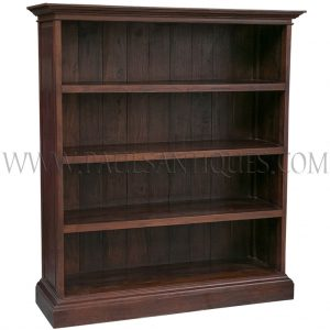 Large Teak Colonial-style Open Bookcase Shelf
