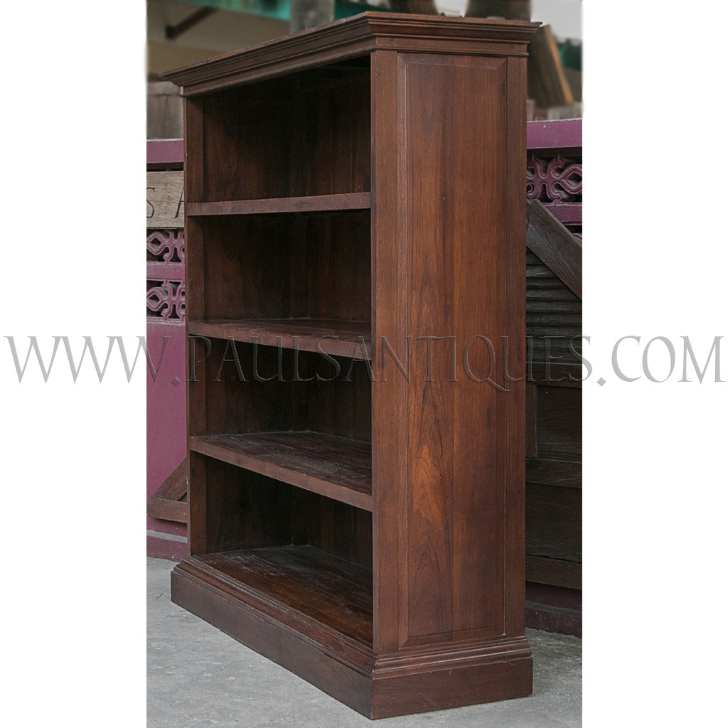 Large Teak Colonial Style Open Bookcase Shelf