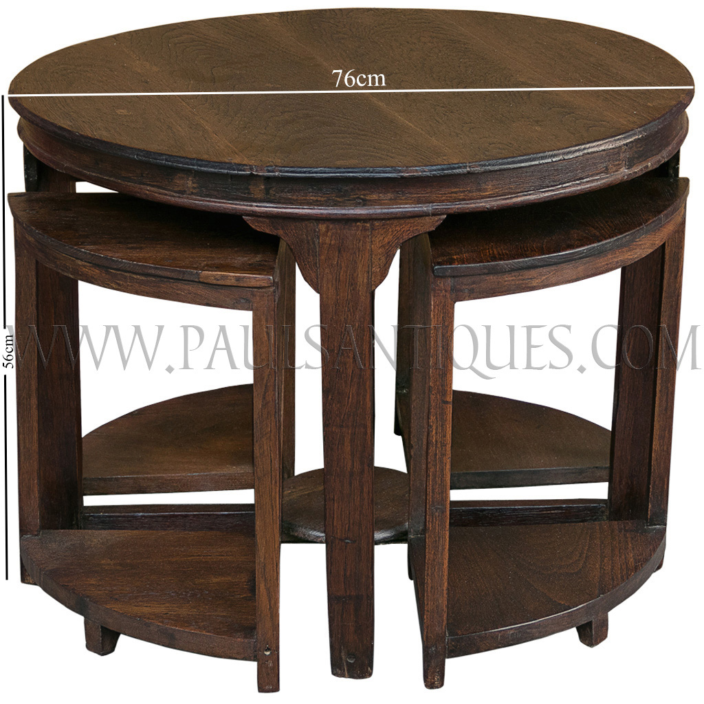 Round Burmese Teak Art Deco Center Table With Small Side Tables Stools
