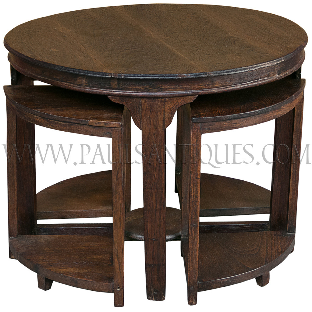 Round burmese teak art deco center table with small side for Table furniture