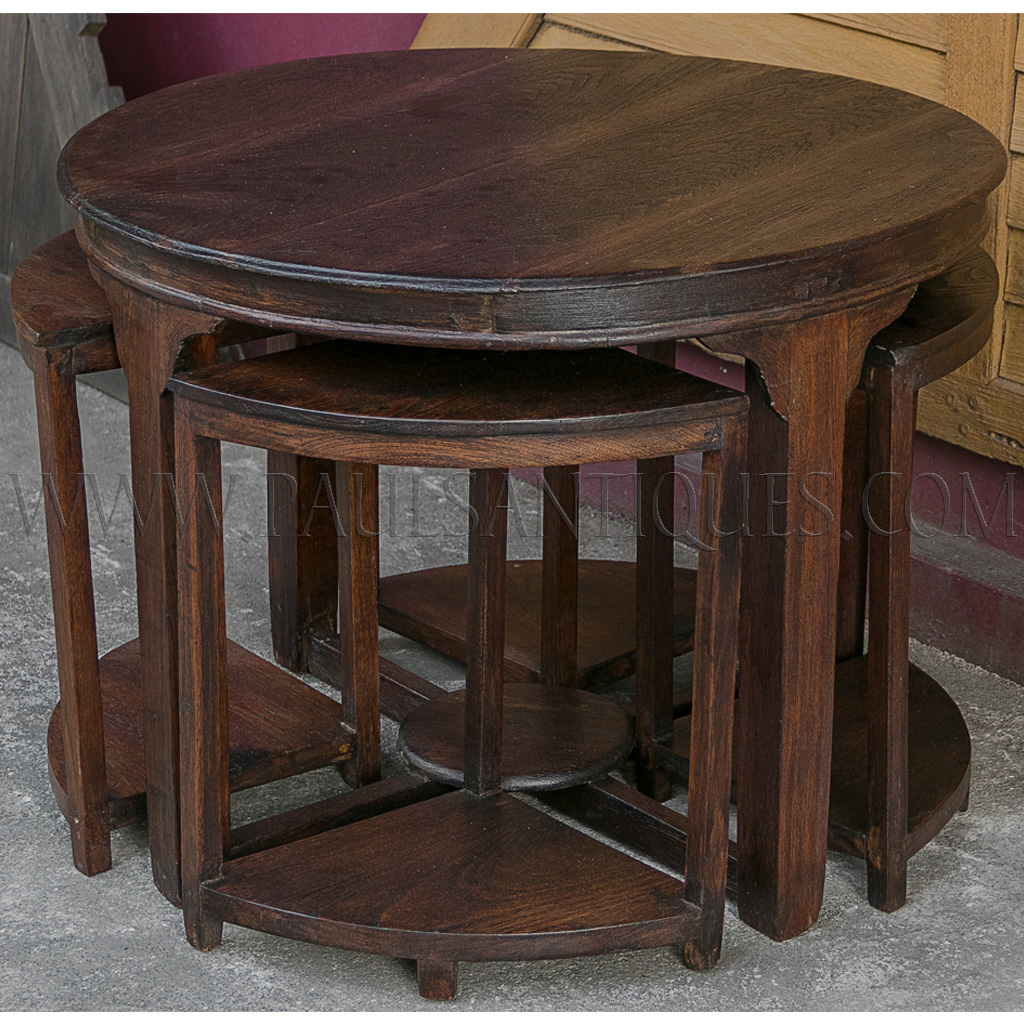 Round burmese teak art deco center table with small side for Center table coffee table