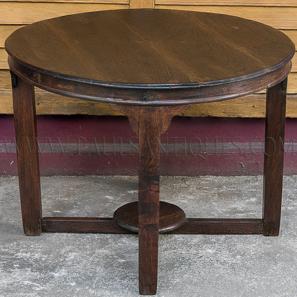 Round Burmese Teak Art Deco Center Table With Small Side