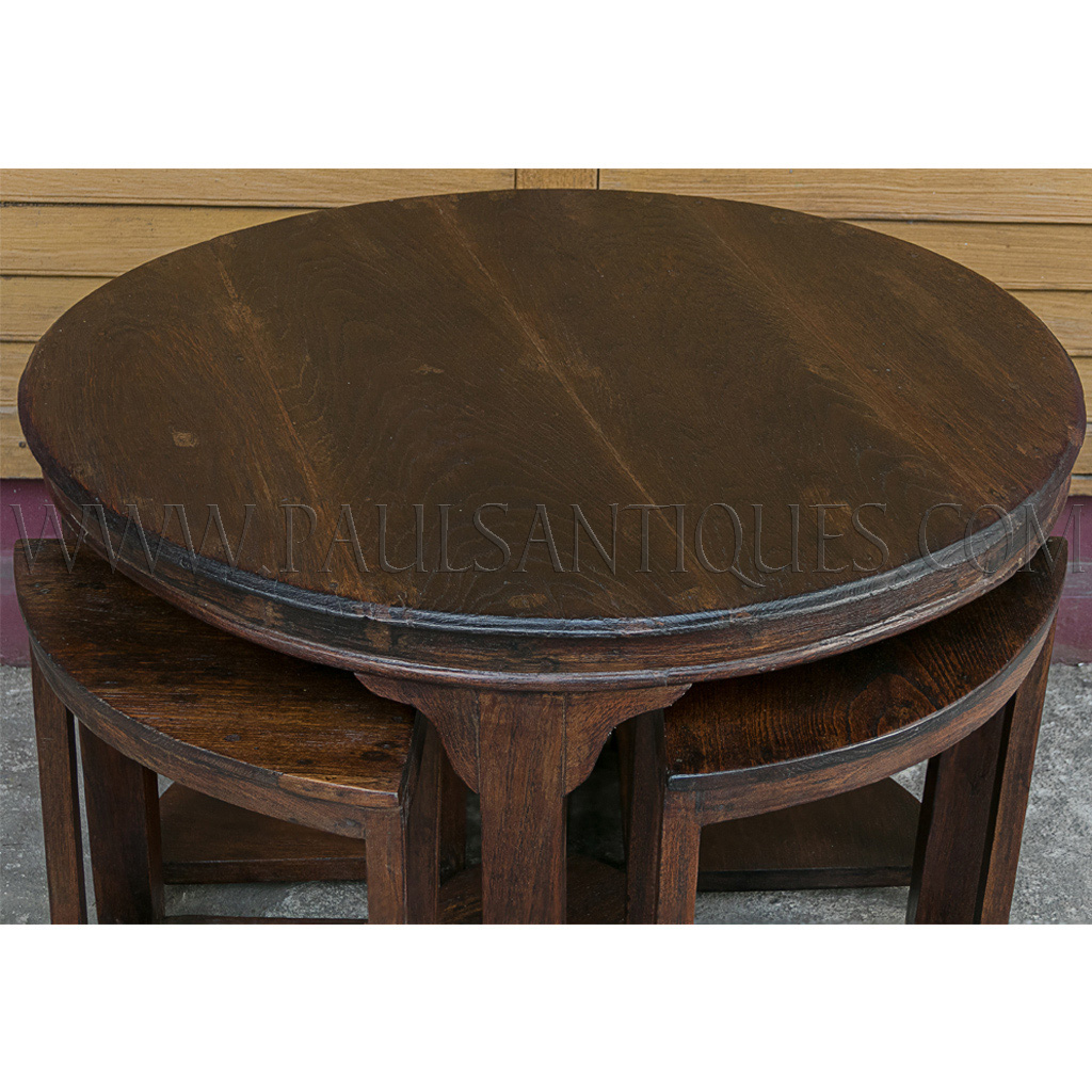 Low Round Teak Coffee Table: Round Burmese Teak Art-Deco Center Table With Small Side
