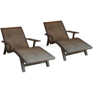 Rare Pair of Colonial Burmese Teak and Rattan Loungers