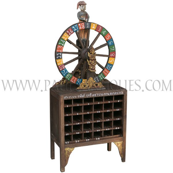 Northern Thai Teak Temple Wheel of Fortune Teller Donation Box made with Antique Carvings