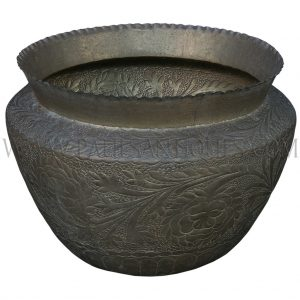 Large Handmade Bangladesh Brass Pot with Raised Acanthus Motif