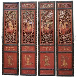 Salvaged Chinese Black and Red Lacquered Sandalwood Lattice Doors