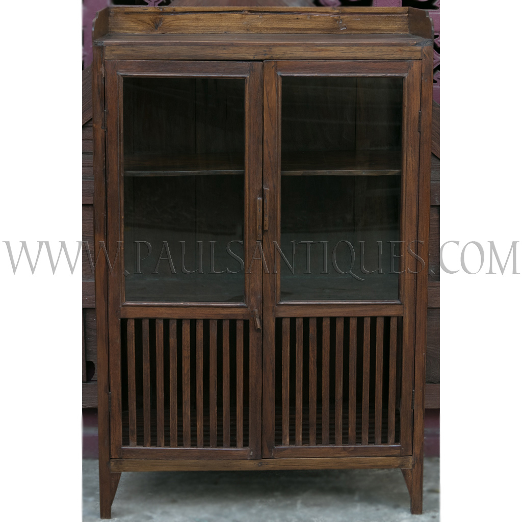 Kitchen Cabinet Repairs: Old Thai Teak Kitchen Cabinet/Meatsafe With Glass Doors