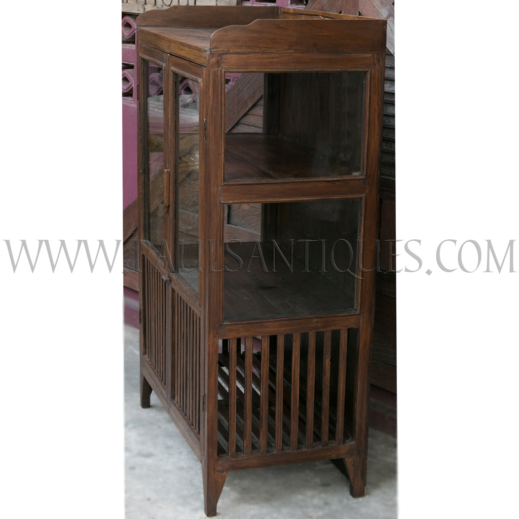 Old Thai Teak Kitchen Cabinet Meatsafe With Glass Doors