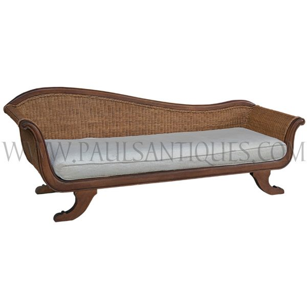 Teak and Rattan Chaise Sofa Lounger
