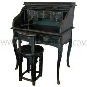 Chinese Roll-top Secretaire Desk with Cabriole Legs and Butterfly Brass Hinges Not Including Chair