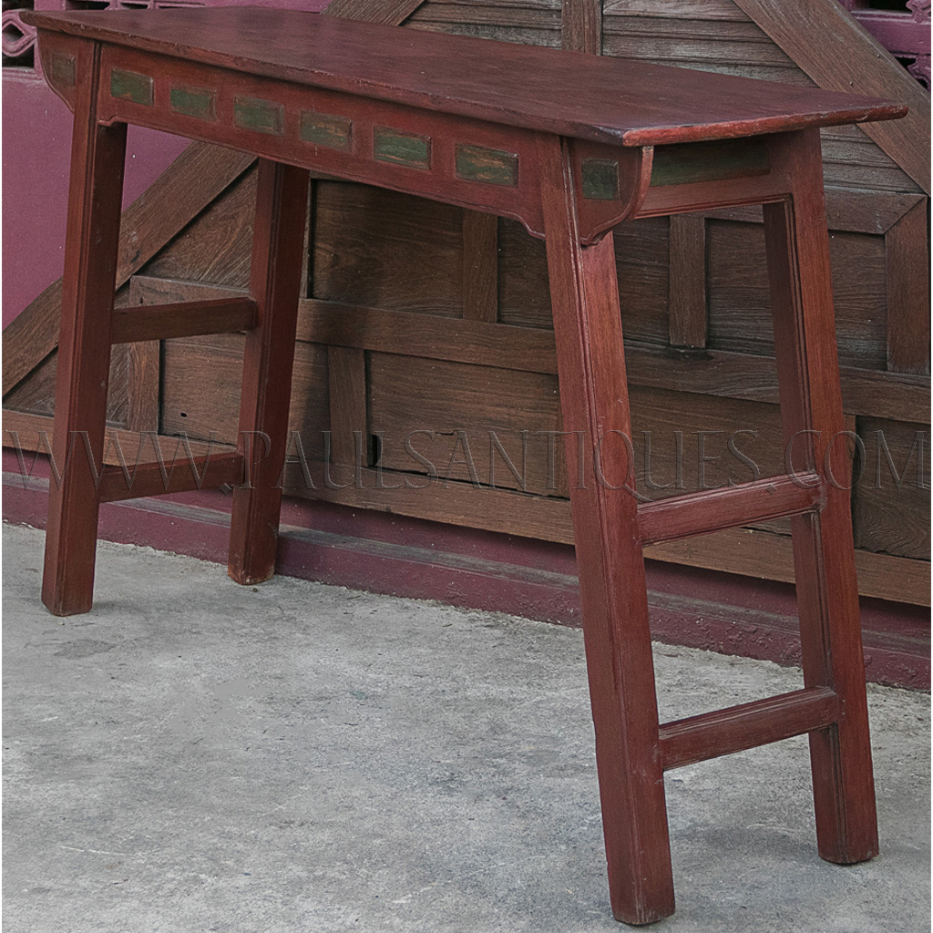 Antique Chinese Thai Teak Altar Table With Original Red