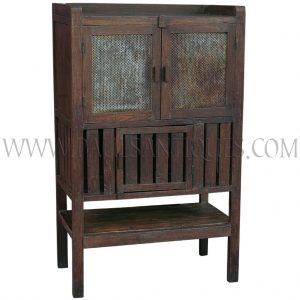 Old Thai Teak Kitchen Cabinet/Meat Safe with Original Metal Grille