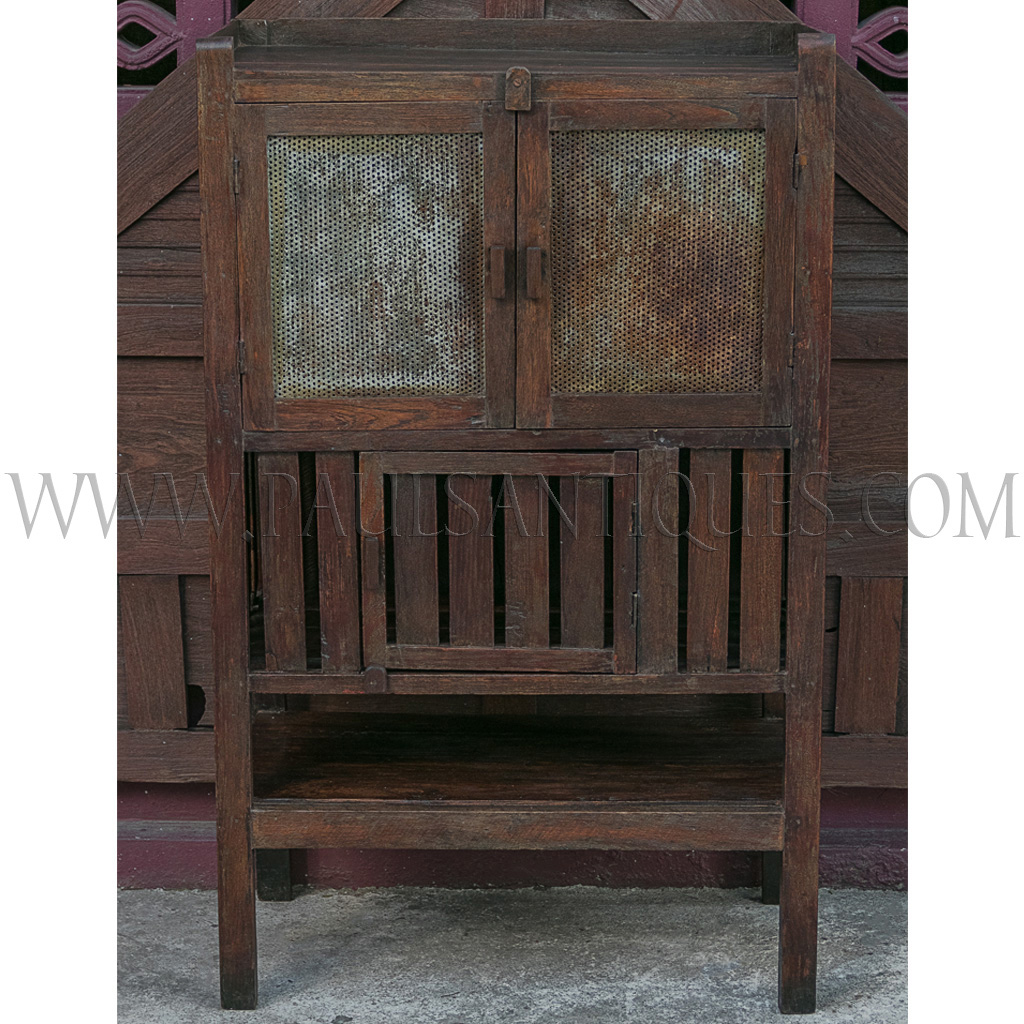 Old Thai Teak Kitchen Cabinet Meat Safe With Original