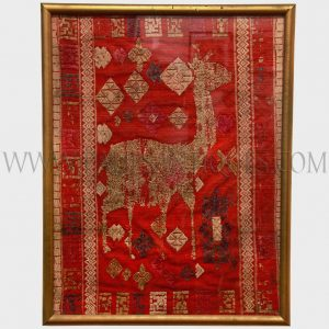 Framed Lao Silk Textile Remnant Depicting Deer and Various Traditional Motifs