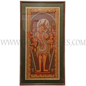 Teak Framed Cloth Painting of Shiva by Burmese Bagan Artist Dwe Van Circa 1994