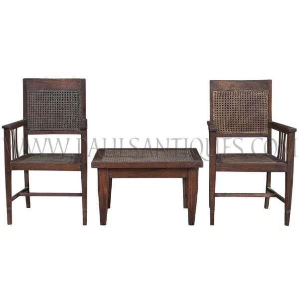 Thai Teak and Rattan Coffee Table and Arm Chairs Set