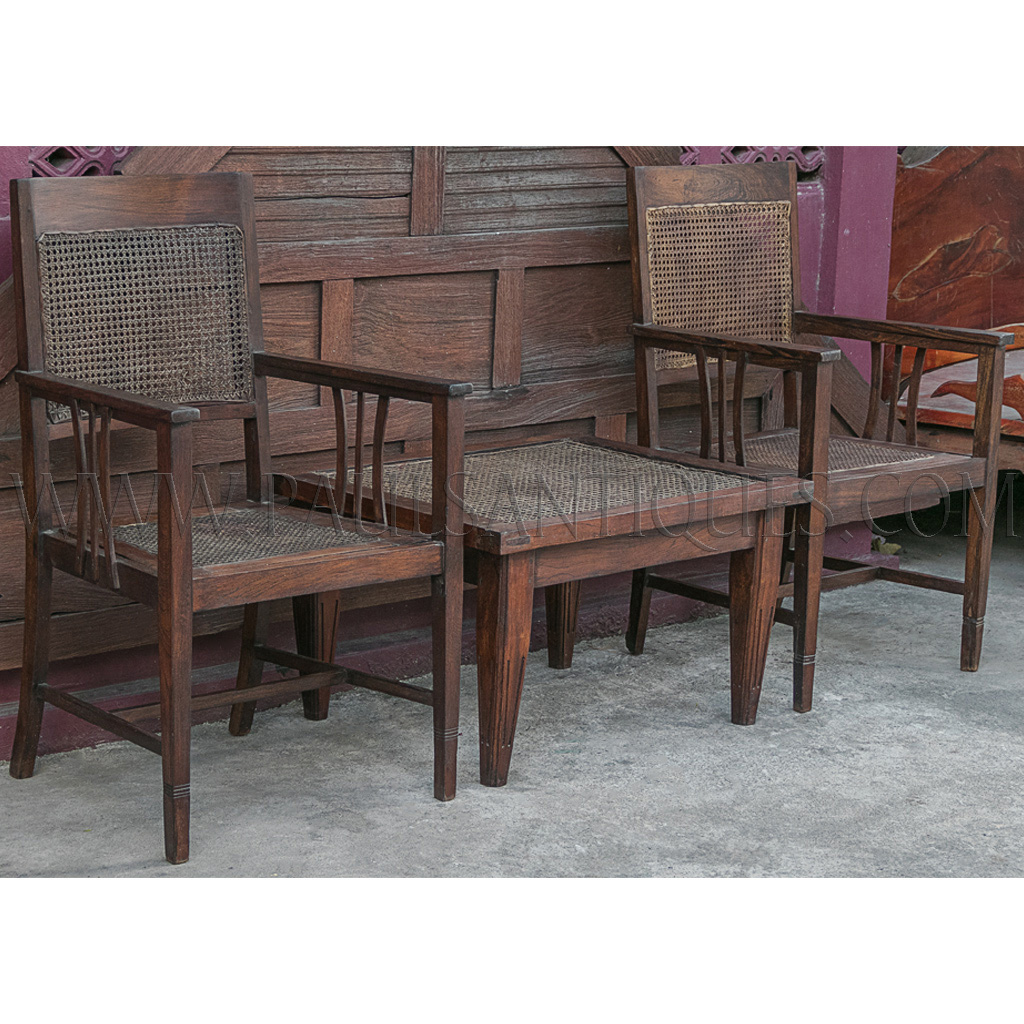 Old Teak Coffee Table: Old Thai Teak And Rattan Coffee Table And Arm Chairs Set