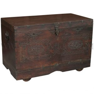 Burmese Teak with Brass Inlay Design Wedding Chest on Wheels