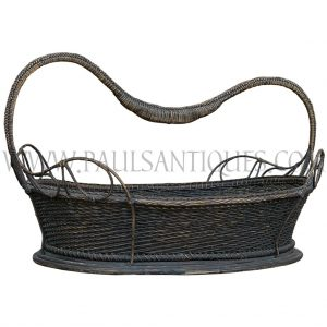 Rare Thai Finely Handwoven Antique Basket with Handle and Teak Base