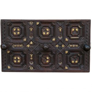 Indian Carved Wooden Coat Rack with Decorative Inlay