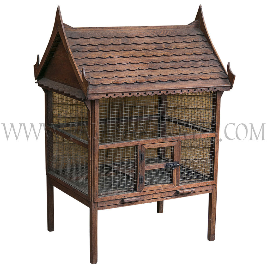 Old Thai Teak Bird Cage in the Shape of a Thai Traditional House